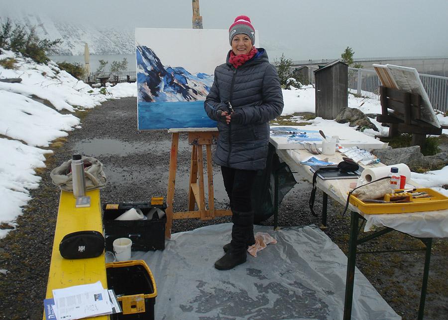 Helene malt am Mooserboden im Nationalpark Hohe Tauern