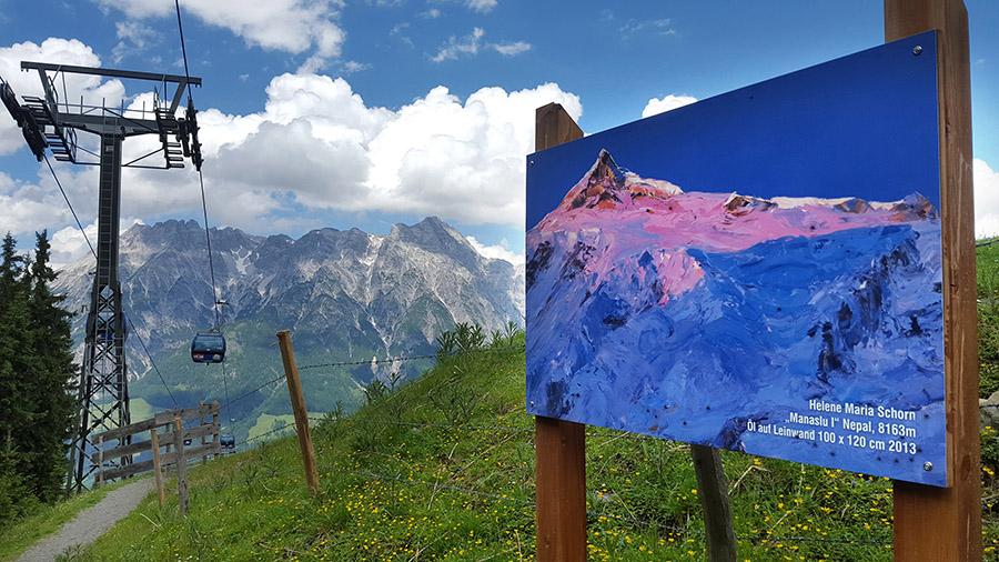 Das Ölbild Manaslu am Hang des Leoganger Asitz Berges mit den Leoganger Steinbergen im Hintergrund.